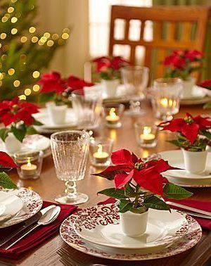 arranjos de natal para mesa com flor vermelha