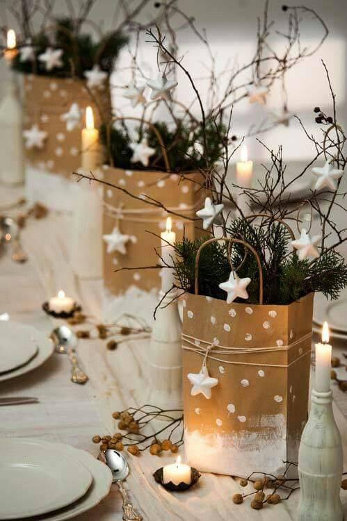 arranjos de natal para mesa com sacola de papel