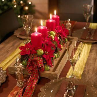 arranjos de natal para mesa estrado de madeira