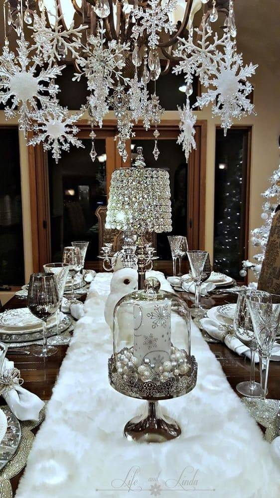 arranjos de natal para mesa floco de neve branco