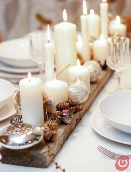 arranjos de natal para mesa madeira mini pinhas