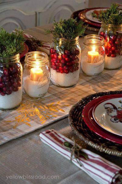 arranjos de natal para mesa potes de conserva