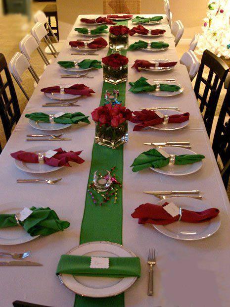 arranjos de natal para mesa verde e vermelho