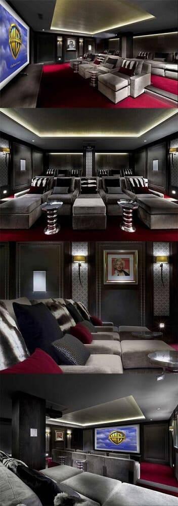 cinema em casa com poltronas e mesas de apoio