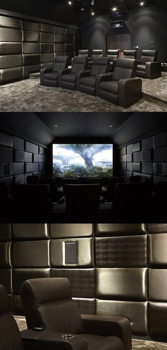 cinema em casa com poltronas pretas