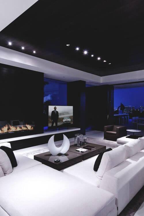 cinema em casa sofa branco