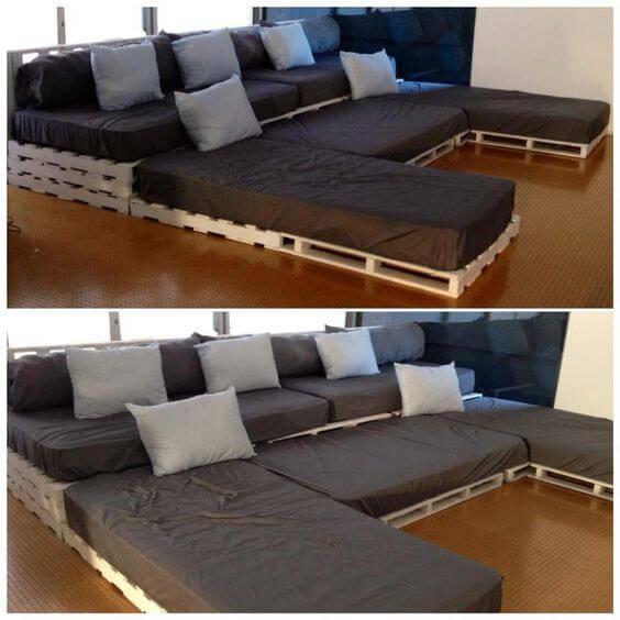 cinema em casa sofa com pallets