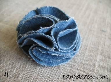 como fazer flor de tecido tutorial 4