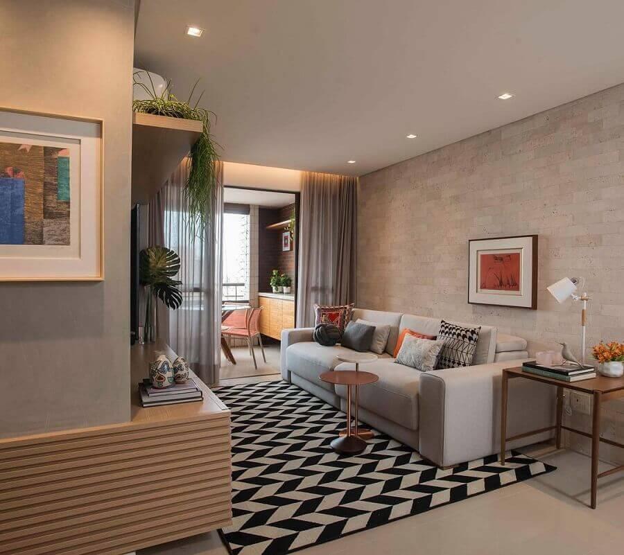 cores neutras para sala com varanda de apartamento decorado Foto Ana Virginia Furlani