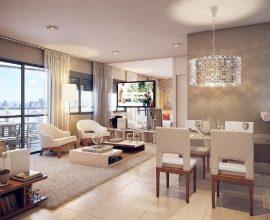 decoração de apartamento sofisticado com lustre de cristal e cores neutras Foto Meu Imóvel