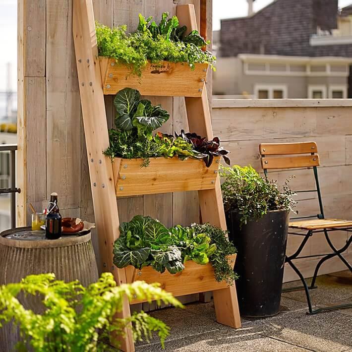 horta suspensa na escada de madeira
