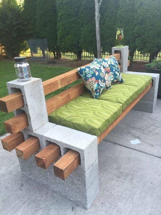 moveis para jardim banco grande com madeira e concreto