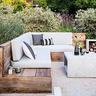 moveis para jardim de madeira sofá e mesa de cimento