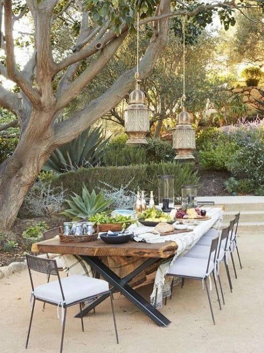 moveis para jardim madeira e metal mesa longa