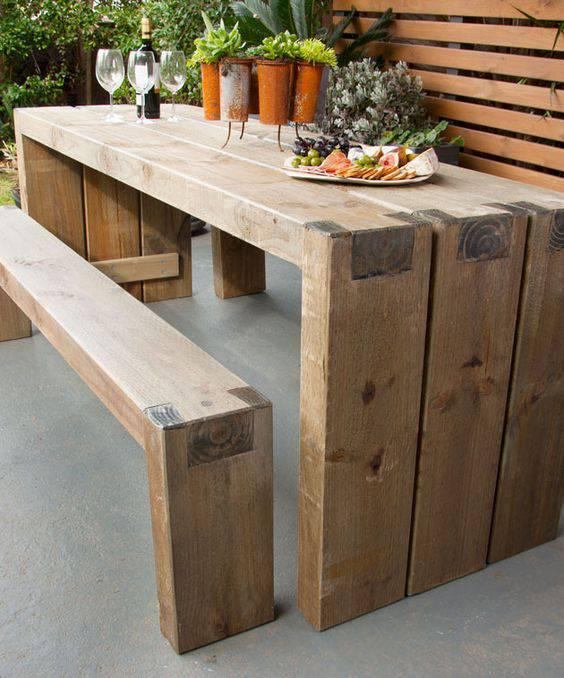 moveis para jardim mesa de madeira de demolicao