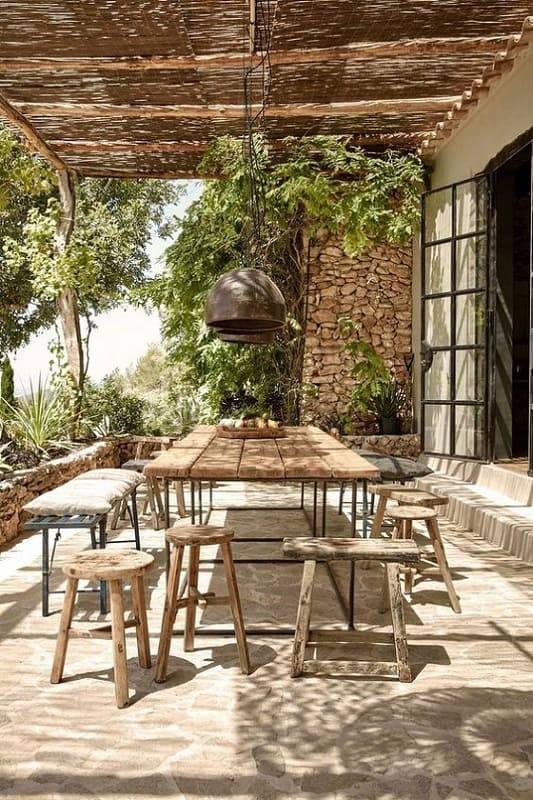moveis para jardim rusticos mesa com banquetas