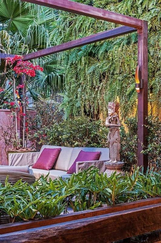 moveis para jardim sofa e estatua elmor arquitetura 93486