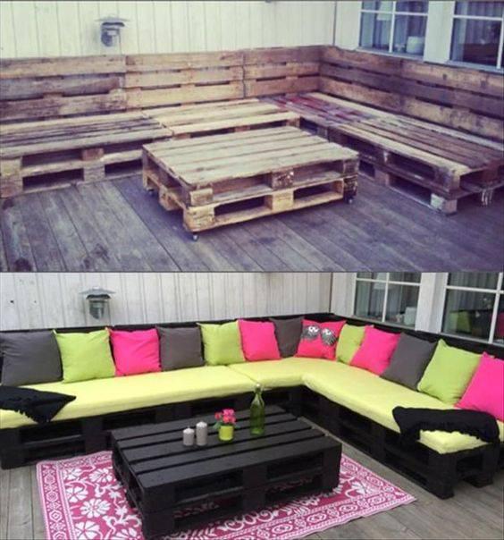moveis para jardim sofa em l com pallets