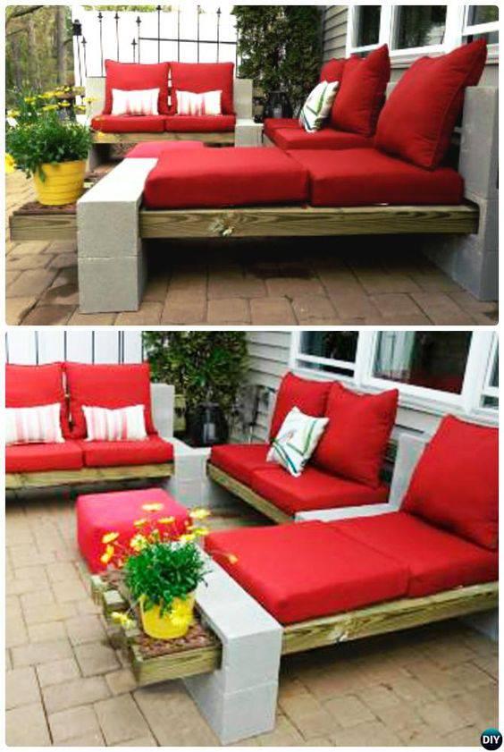 moveis para jardim sofas com pallets e blocos