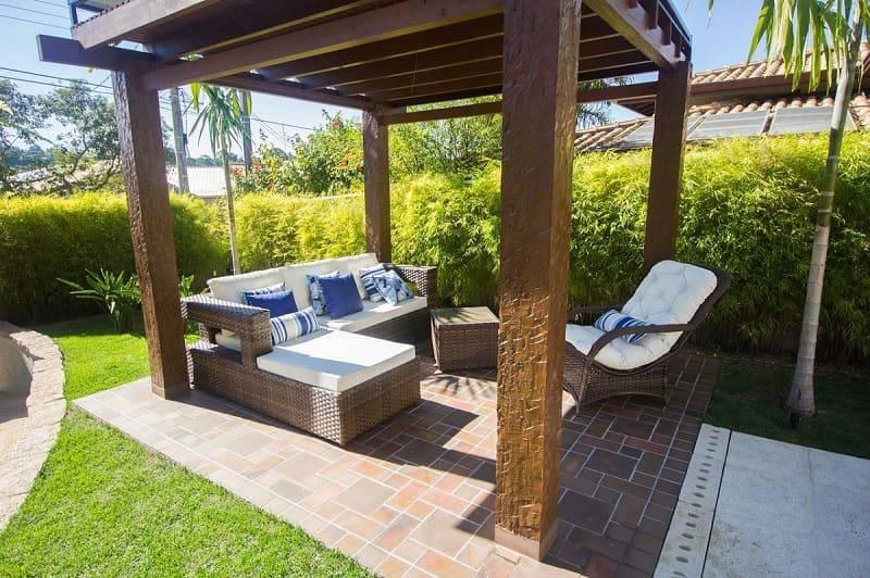 moveis para jardim trançado com almofadas engenharia e arquitetura 140187