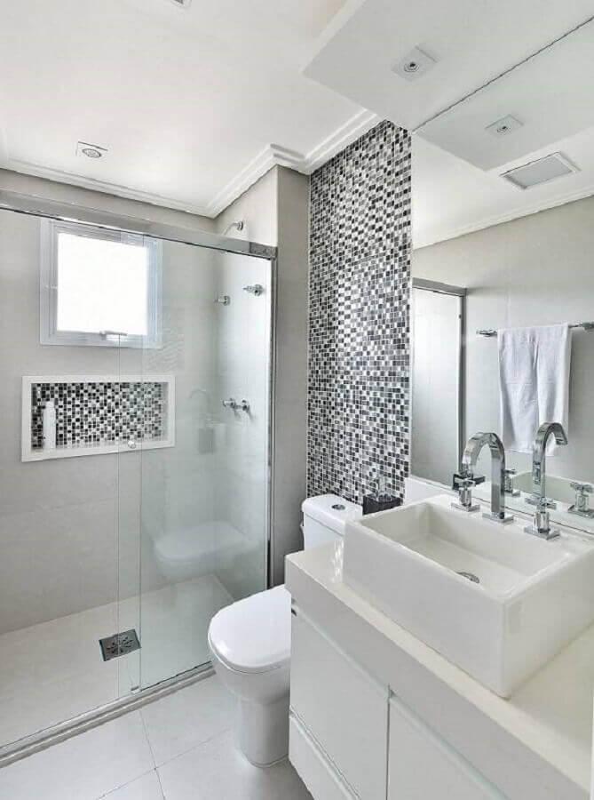 pastilha preta e branca para banheiro de apartamento decorado Foto Tetriz Arquitetura