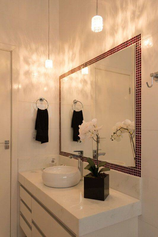 revestimento para banheiro pastilha adesiva no espelho