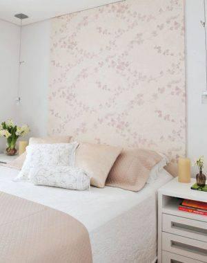 tecido para parede folhagens cabeceira quarto de casal