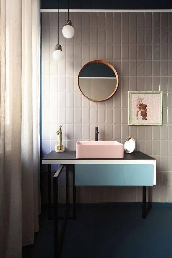 tons pasteis banheiro retro com bancada