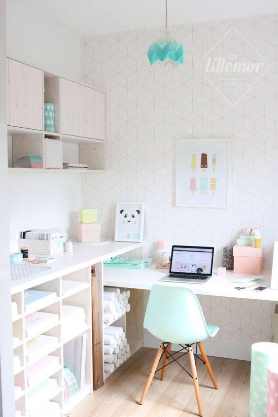 tons pasteis home office com azul