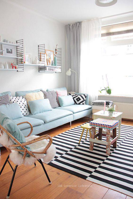 Tons pasteis na decora o 50 ideias cheias de cor for Cores para sala de estar 2017