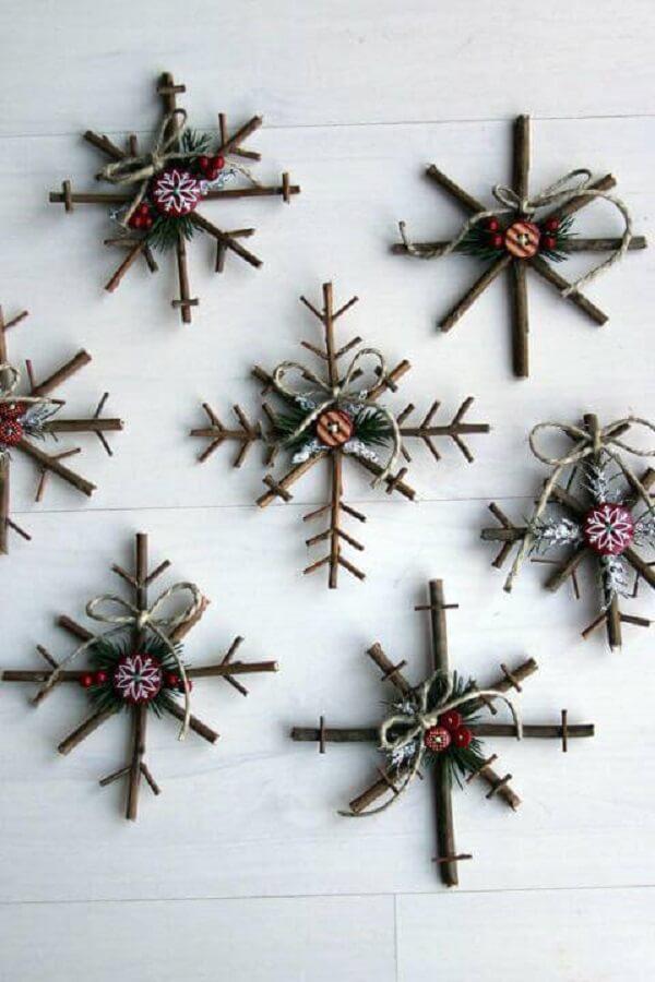 Artesanato de Natal neve de madeira snowflake-ornament