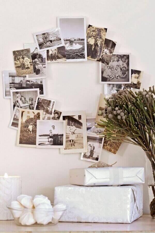 Artesanato de natal guirlanda com fotos