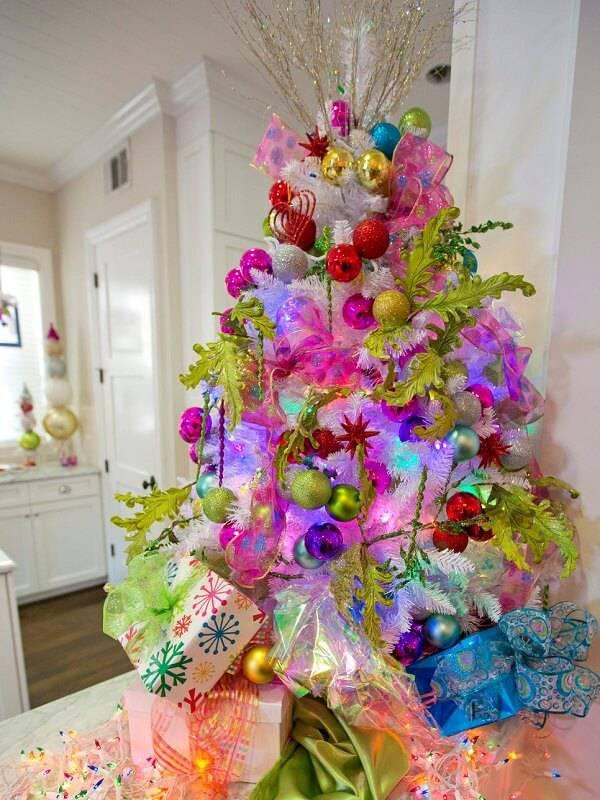 Como Enfeitar Árvore de Natal colorida