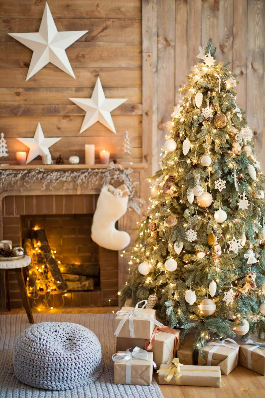Como Enfeitar Árvore de Natal rustico natural