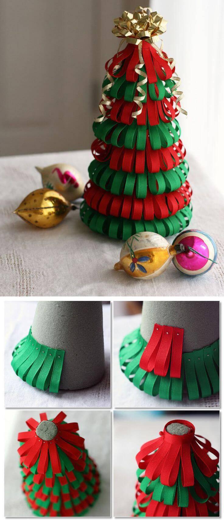 Como Fazer Laço de Natal arvore paper-christmas-trees