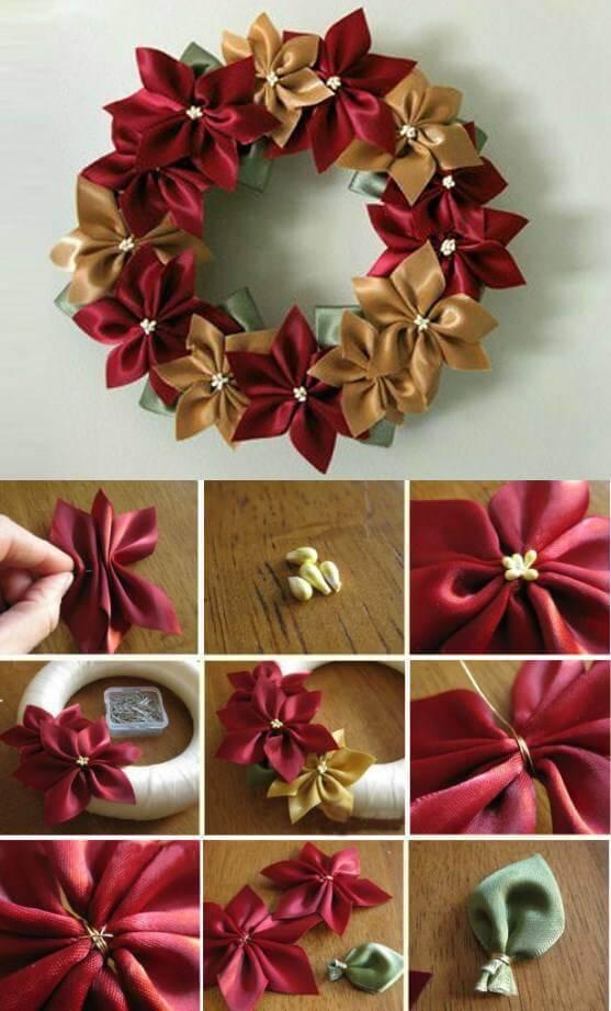 Como Fazer Laço de Natal guirlanda de laços
