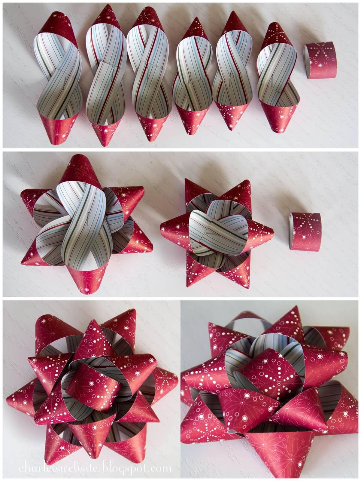 Como Fazer Laço de Natal laço grande prateado e vermelho