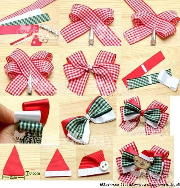 Como Fazer Laço de Natal vermelho touca