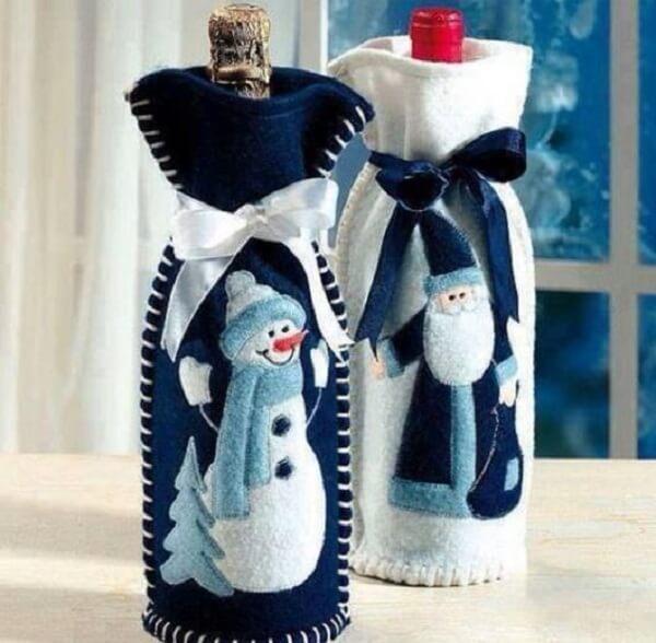Lembrancinha de natal saquinhos para garrafa de vinho
