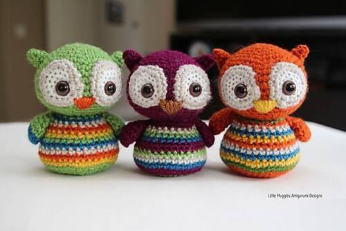 amigurumi verde coruja de crochê owl-Crochet