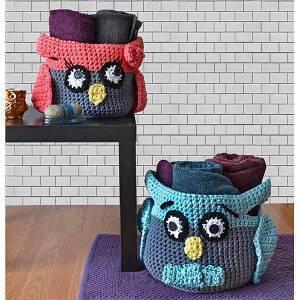cachepot Coruja de Crochê Hooty-Owl-Crochet