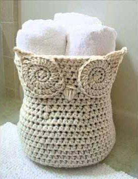 cachepot branco Coruja de Crochê