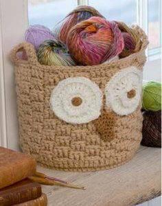 cachepot para lã de Coruja de Crochê