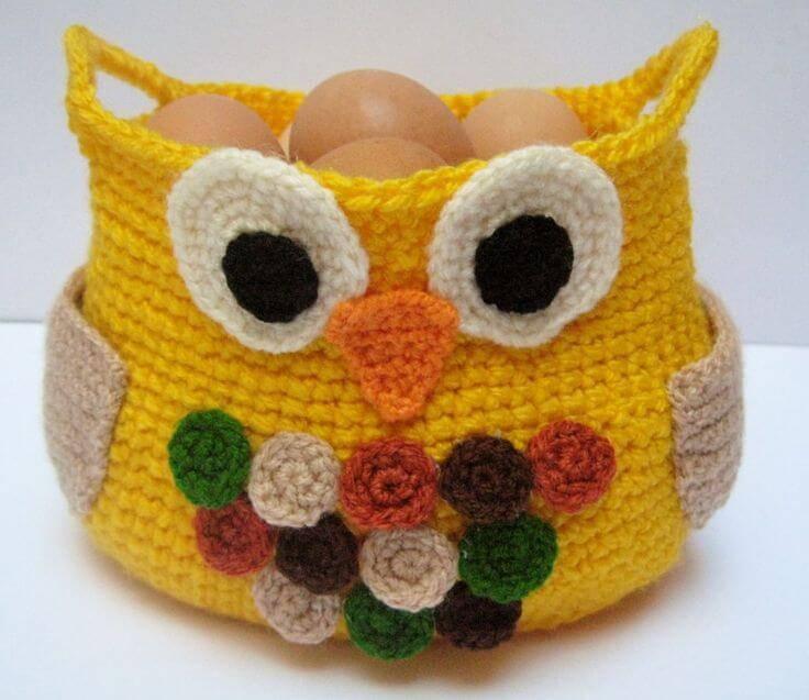 cachepot porta ovos Coruja de Crochê
