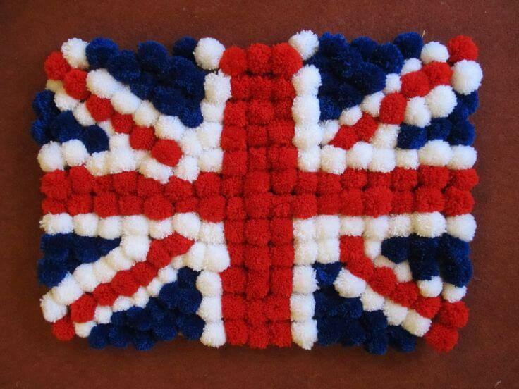como fazer tapete de pompom -rug-bandeira