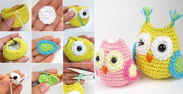 artesanato com coruja de crochê
