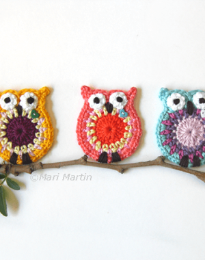 coruja de croche Owl-Applique