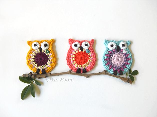 coruja de crochê Owl-Applique