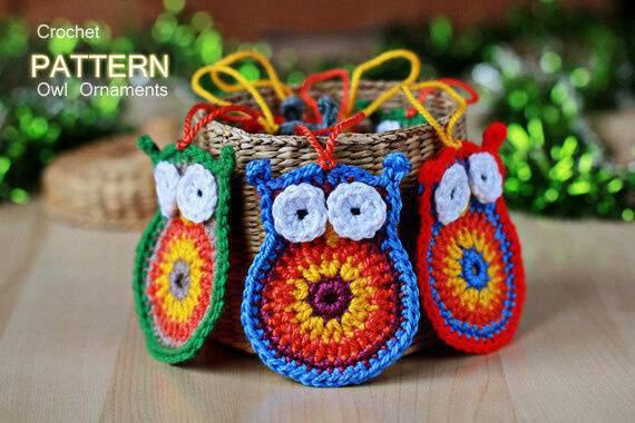 coruja de croche owl-ornaments