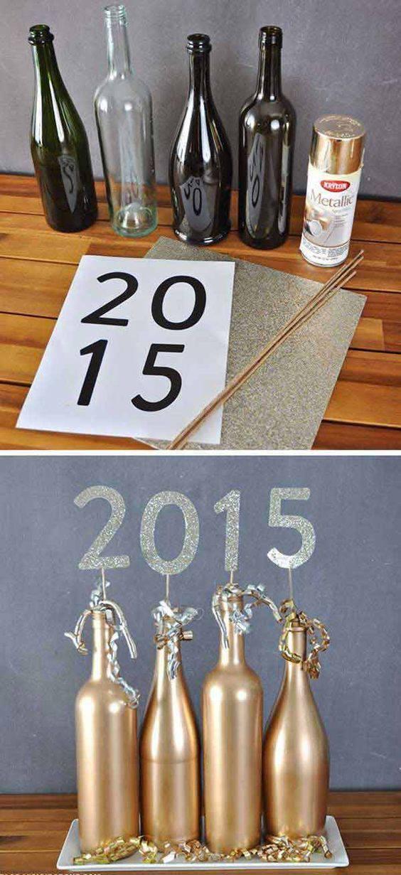decoração de ano novo garrafas com numero